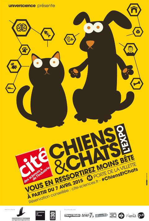 affiche de l'expo Chiens et chats
