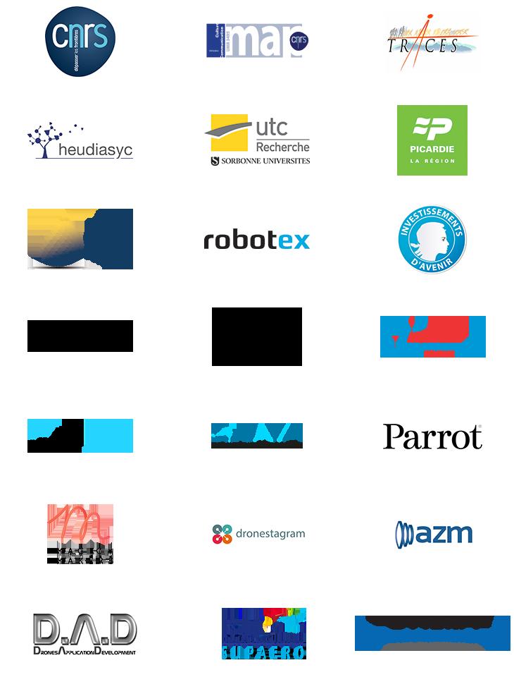 CNRS (MAP et Traces), Heudiasyc, utc Recherche Sorbonne, Picardie, Labex, Robotex, Investissements d'Avenir, Iconem, Syria DGAM, Fédération professionnelle du drône civil, Internest, UAVIA, Parrot, Magic Makers, Dronestagram, AZM, DAD, ISAE Supaero, ONERA